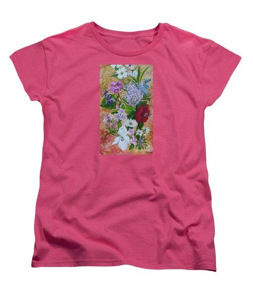 Women's T-Shirt (Standard Cut) featuring the painting Garden Delight by Eloise Schneider