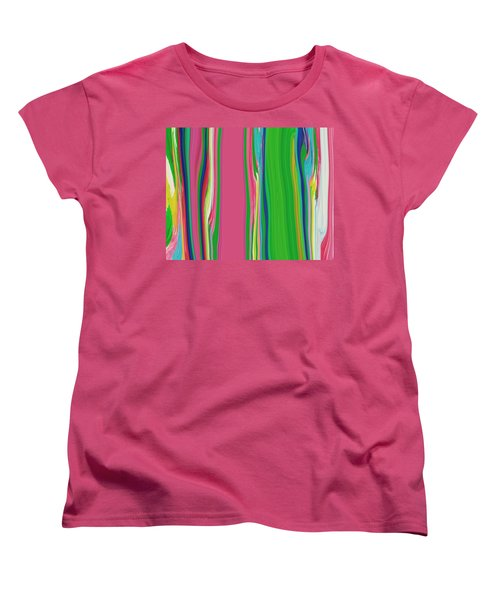 Women's T-Shirt (Standard Cut) featuring the painting Garden Stripes  C2014 by Paul Ashby