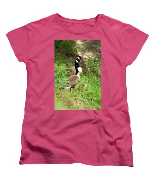 Geese And Gosling Women's T-Shirt (Standard Cut) by Kim Pate