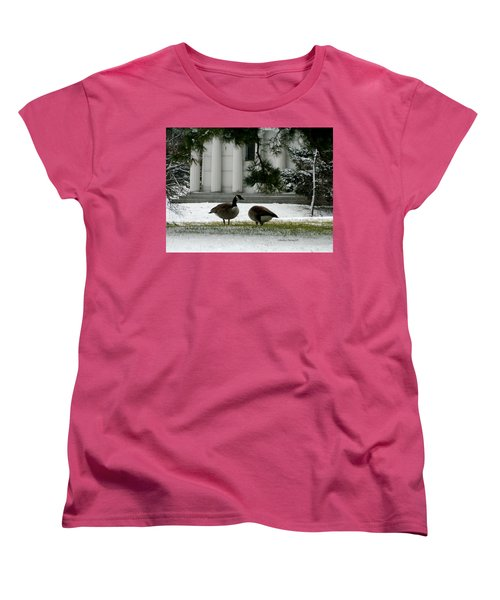 Geese In Snow Women's T-Shirt (Standard Cut) by Kathy Barney