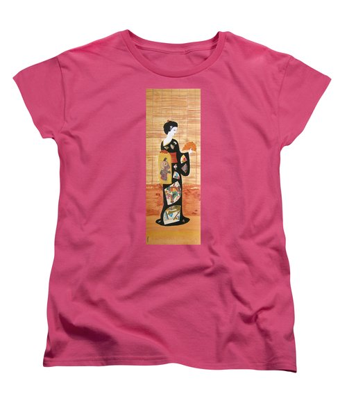 Women's T-Shirt (Standard Cut) featuring the painting Geisha by Mini Arora