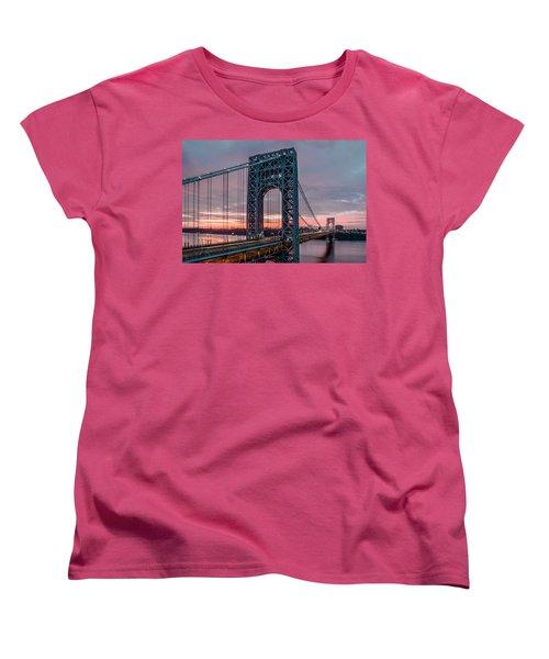 George Washington Bridge At Twilight Women's T-Shirt (Standard Cut) by Eduard Moldoveanu