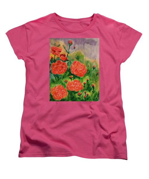 Women's T-Shirt (Standard Cut) featuring the painting Geraniums by Christy Saunders Church