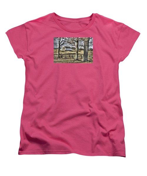 Women's T-Shirt (Standard Cut) featuring the photograph Gettysburg At Rest - Winter Muted Edward Mc Pherson Farm by Michael Mazaika