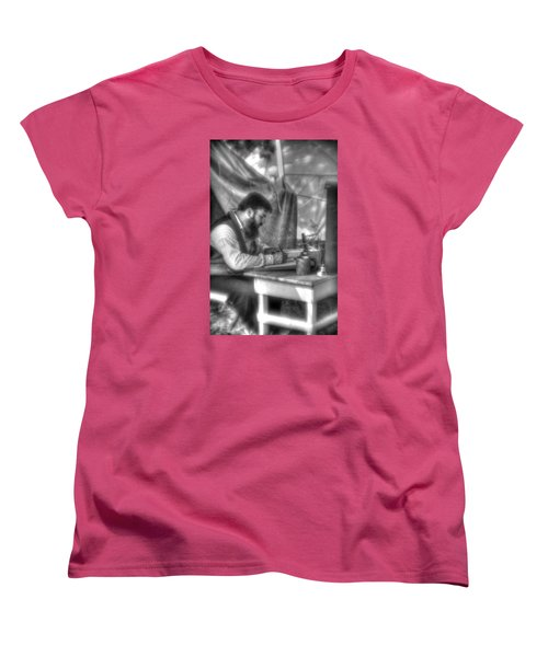 Gettysburg In The Camp - The Chaplain's Letter Home Women's T-Shirt (Standard Cut) by Michael Mazaika