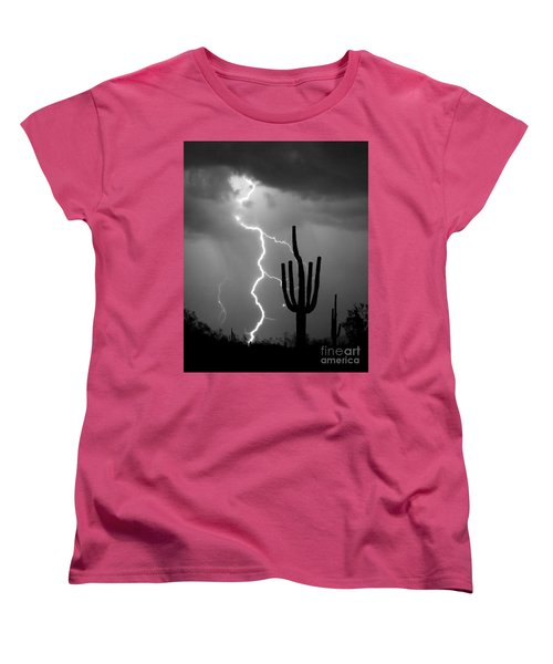 Giant Saguaro Cactus Lightning Strike Bw Women's T-Shirt (Standard Cut) by James BO  Insogna
