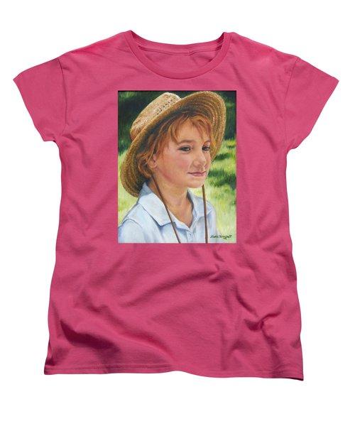 Women's T-Shirt (Standard Cut) featuring the painting Girl In Straw Hat by Lori Brackett