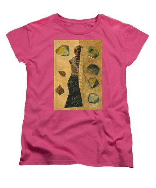 Gold Black Female Women's T-Shirt (Standard Cut) by Patricia Cleasby