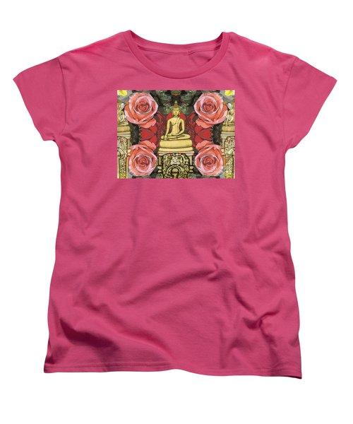 Women's T-Shirt (Standard Cut) featuring the painting Golden Buddha In The Garden by Joseph J Stevens