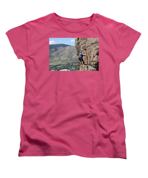 Women's T-Shirt (Standard Cut) featuring the pyrography Golden Climbing by Chris Thomas