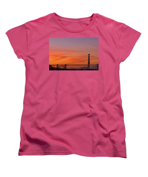 Golden Gate Sunset Women's T-Shirt (Standard Cut) by Kate Brown