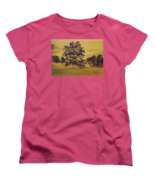 Women's T-Shirt (Standard Cut) featuring the painting Golden Landscape by Judith Rhue