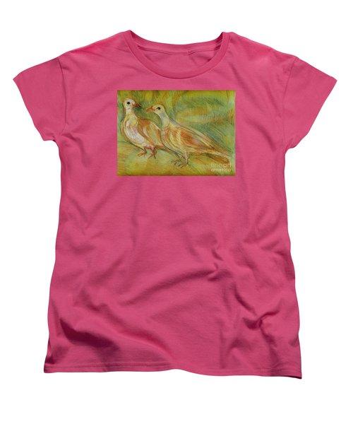 Golden Pigeons Women's T-Shirt (Standard Cut) by Anna Yurasovsky