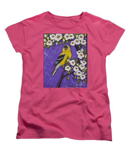 Women's T-Shirt (Standard Cut) featuring the painting Goldfinch In Pear Blossoms by Jennifer Lake