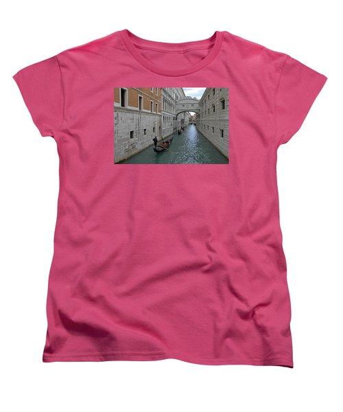 Gondolas Under Bridge Of Sighs Women's T-Shirt (Standard Cut) by Tony Murtagh