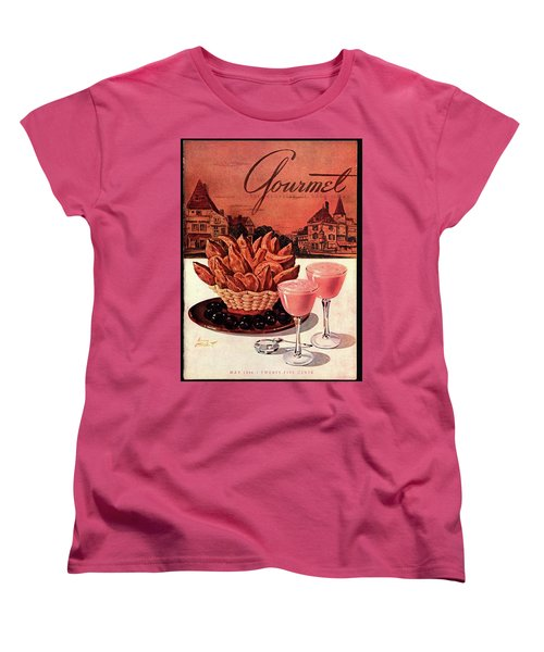 Gourmet Cover Featuring A Basket Of Potato Curls Women's T-Shirt (Standard Cut) by Henry Stahlhut