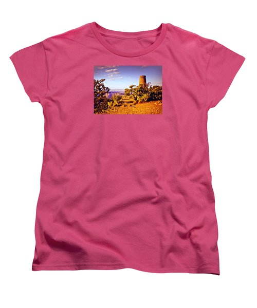 Women's T-Shirt (Standard Cut) featuring the painting Grand Canyon National Park Golden Hour Watchtower by Bob and Nadine Johnston