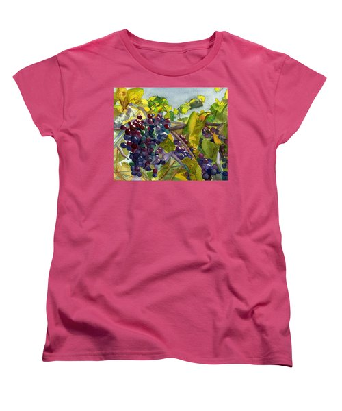 Women's T-Shirt (Standard Cut) featuring the painting Grapevines by Lynne Reichhart