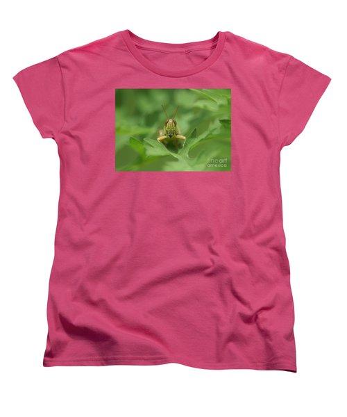 Women's T-Shirt (Standard Cut) featuring the photograph Grasshopper Portrait by Olga Hamilton