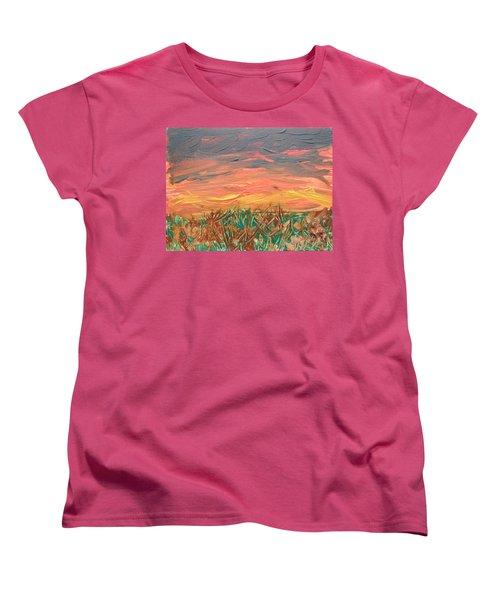 Grassland Sunset Women's T-Shirt (Standard Cut) by David Trotter