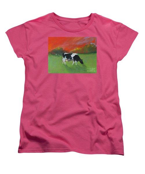 Grazing Cow Women's T-Shirt (Standard Cut) by Robin Maria Pedrero