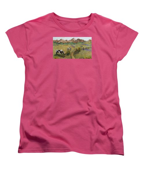 Grazing Cows Women's T-Shirt (Standard Cut) by Katherine Young-Beck