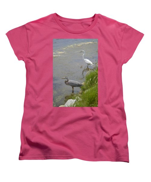 Great Blue And White Egrets Women's T-Shirt (Standard Cut) by Judith Morris