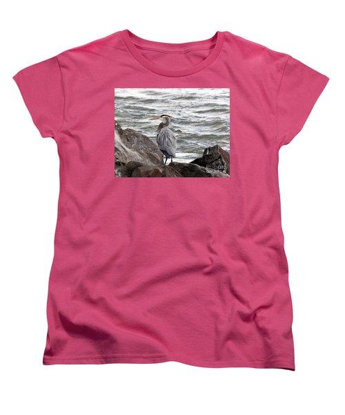 Women's T-Shirt (Standard Cut) featuring the photograph Great Blue Heron by Trina  Ansel