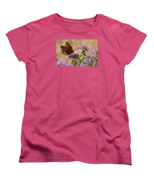 Great Spangled On Bee Balm Women's T-Shirt (Standard Cut) by Shelly Gunderson