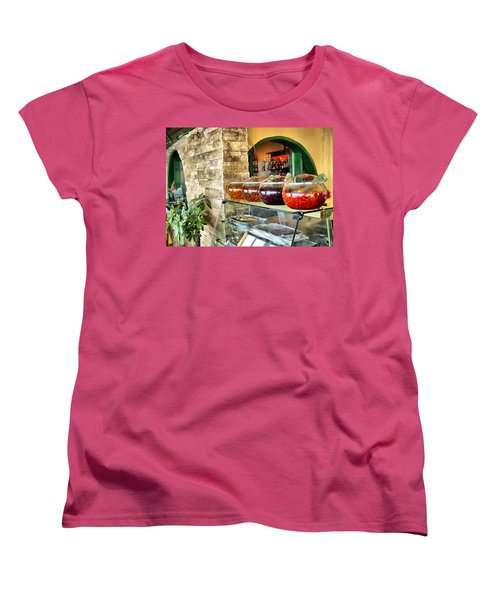 Women's T-Shirt (Standard Cut) featuring the photograph Greek Isle Restaurant Still Life by Mitchell R Grosky