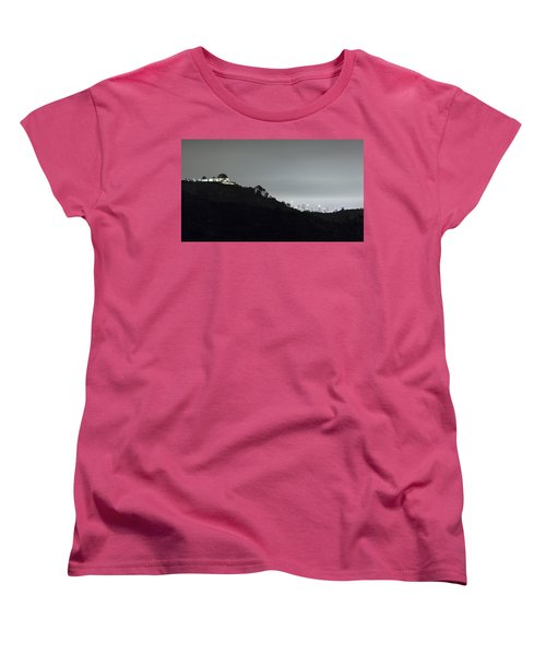 Griffith Park Observatory And Los Angeles Skyline At Night Women's T-Shirt (Standard Cut) by Belinda Greb