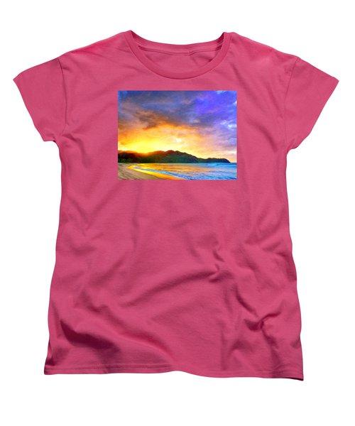 Hanalei Sunset Women's T-Shirt (Standard Cut) by Dominic Piperata