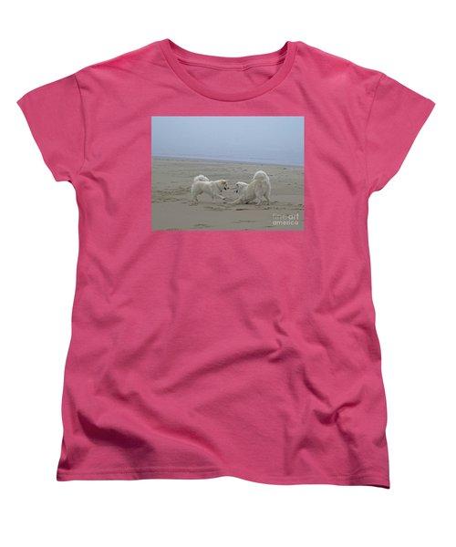 Women's T-Shirt (Standard Cut) featuring the photograph Happy Girls Beach Side by Fiona Kennard