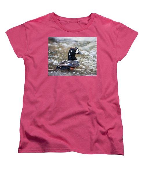 Harlequin Duck In Rapids Women's T-Shirt (Standard Cut) by Jack Bell