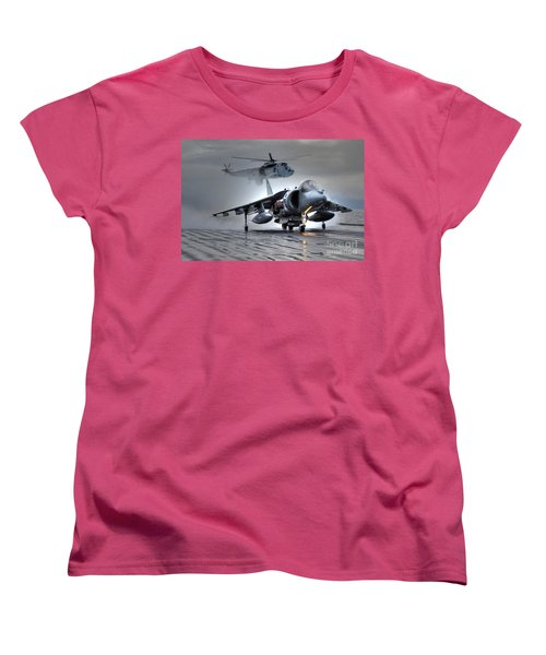 Harrier Gr9 Takes Off From Hms Ark Royal For The Very Last Time Women's T-Shirt (Standard Cut) by Paul Fearn