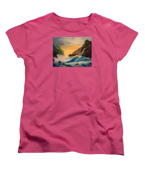 Women's T-Shirt (Standard Cut) featuring the painting Hawaiian Turquoise Sunset   Copyright by Jenny Lee