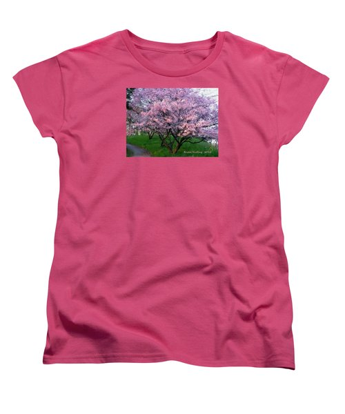 Women's T-Shirt (Standard Cut) featuring the painting Heartfelt Cherry Blossoms by Bruce Nutting
