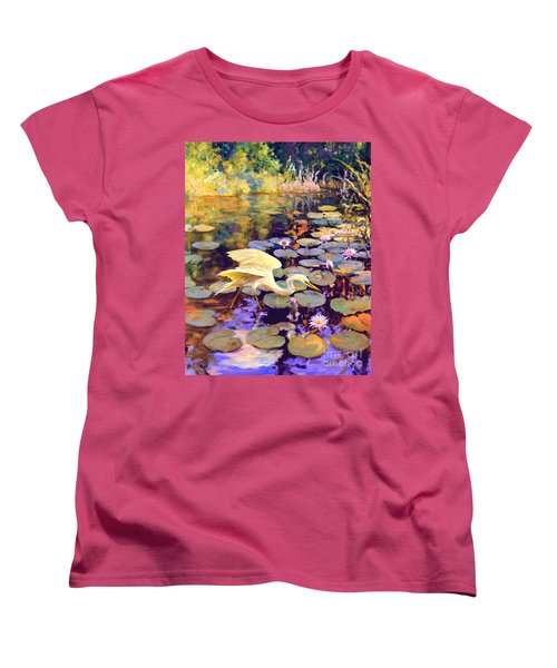 Women's T-Shirt (Standard Cut) featuring the painting Heron In Lily Pond by David  Van Hulst