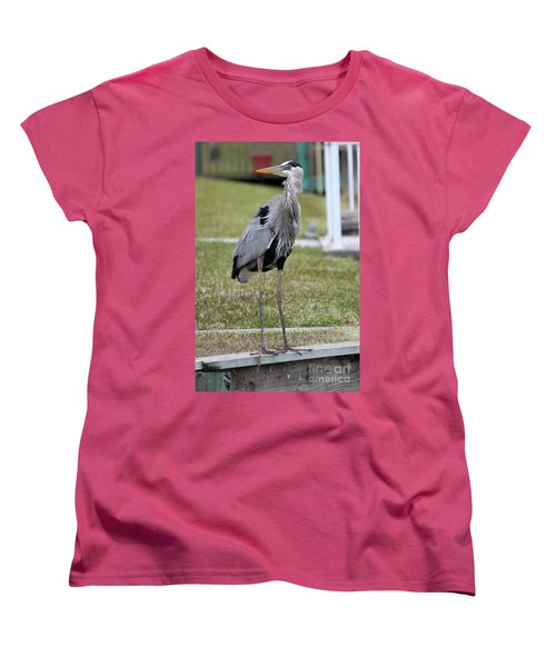 Women's T-Shirt (Standard Cut) featuring the photograph Heron On The Edge by Debbie Hart