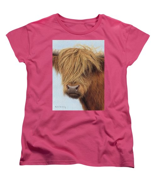 Highland Cow Painting Women's T-Shirt (Standard Cut) by Rachel Stribbling