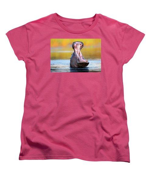 Hippopotamus Displaying Aggressive Behavior Women's T-Shirt (Standard Cut) by Johan Swanepoel