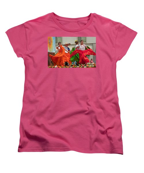 Hispanic Women Dancing In Colorful Skirts Art Prints Women's T-Shirt (Standard Cut) by Valerie Garner