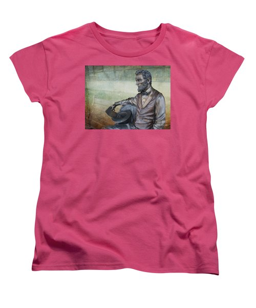 History - Abraham Lincoln Contemplates -  Luther Fine Art Women's T-Shirt (Standard Cut) by Luther Fine Art