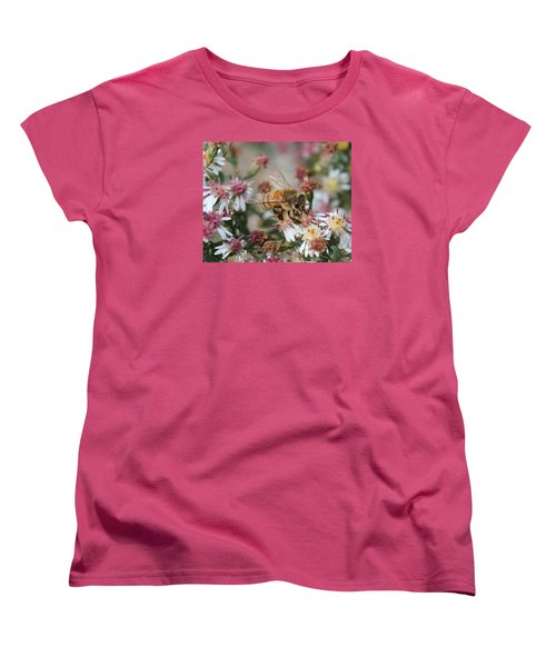 Honeybee Sipping Nectar On Wild Aster Women's T-Shirt (Standard Cut) by Lucinda VanVleck