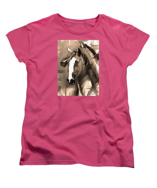 Women's T-Shirt (Standard Cut) featuring the painting Horse Together 1 Sepia by Go Van Kampen