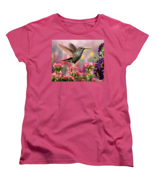 Hummingbird In Colorful Garden Women's T-Shirt (Standard Cut)