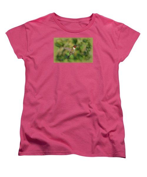 Hummingbird In Flight Women's T-Shirt (Standard Cut) by Sandy Keeton