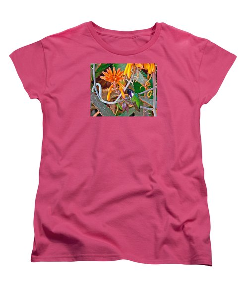 Hummingbird On Aloe In Living Desert In Palm Desert-california Women's T-Shirt (Standard Cut) by Ruth Hager