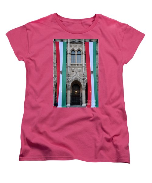 Hungary Flag Hanging At Parliament Budapest Women's T-Shirt (Standard Cut) by Imran Ahmed