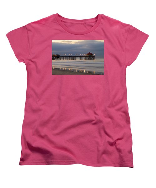 Huntington Beach Pier Morning Lights Women's T-Shirt (Standard Cut) by Duncan Selby